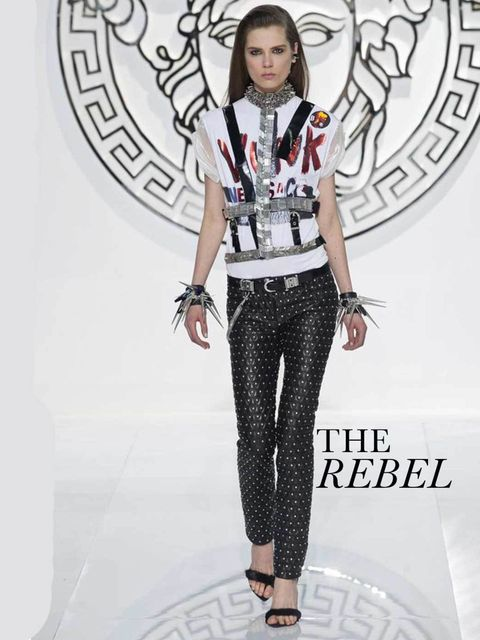 "<p>THE REBEL</p><p>From Donatella Versace's Vunk to Saint Laurent's Grunge, the woman we most want to be this season is a rebel. Well, we want her wardrobe: zips, chains, vinyl, leather and studs. </p><p><em><a href=""http://louisvuittonshop.info/fashion/news/ver"
