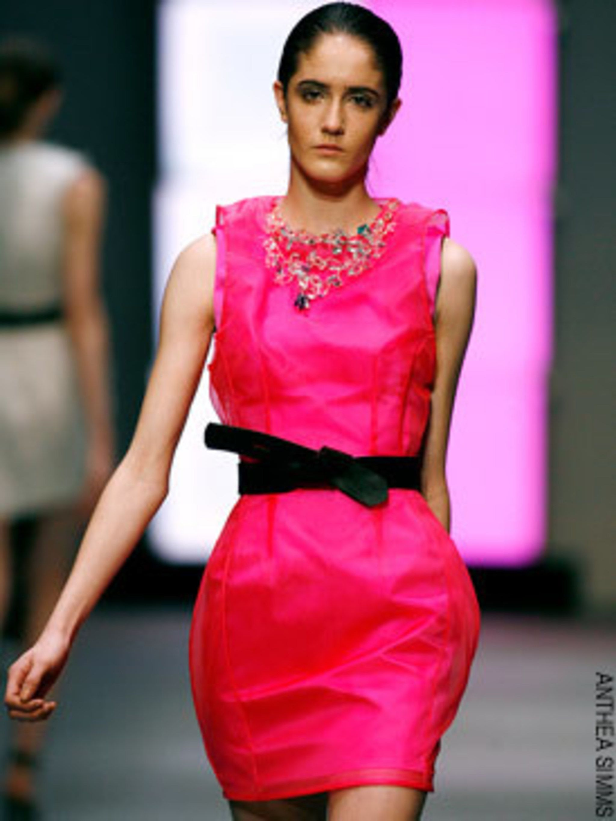<p>Marios Schwab was really back on form this season - I loved this hot pink mini dress</p>