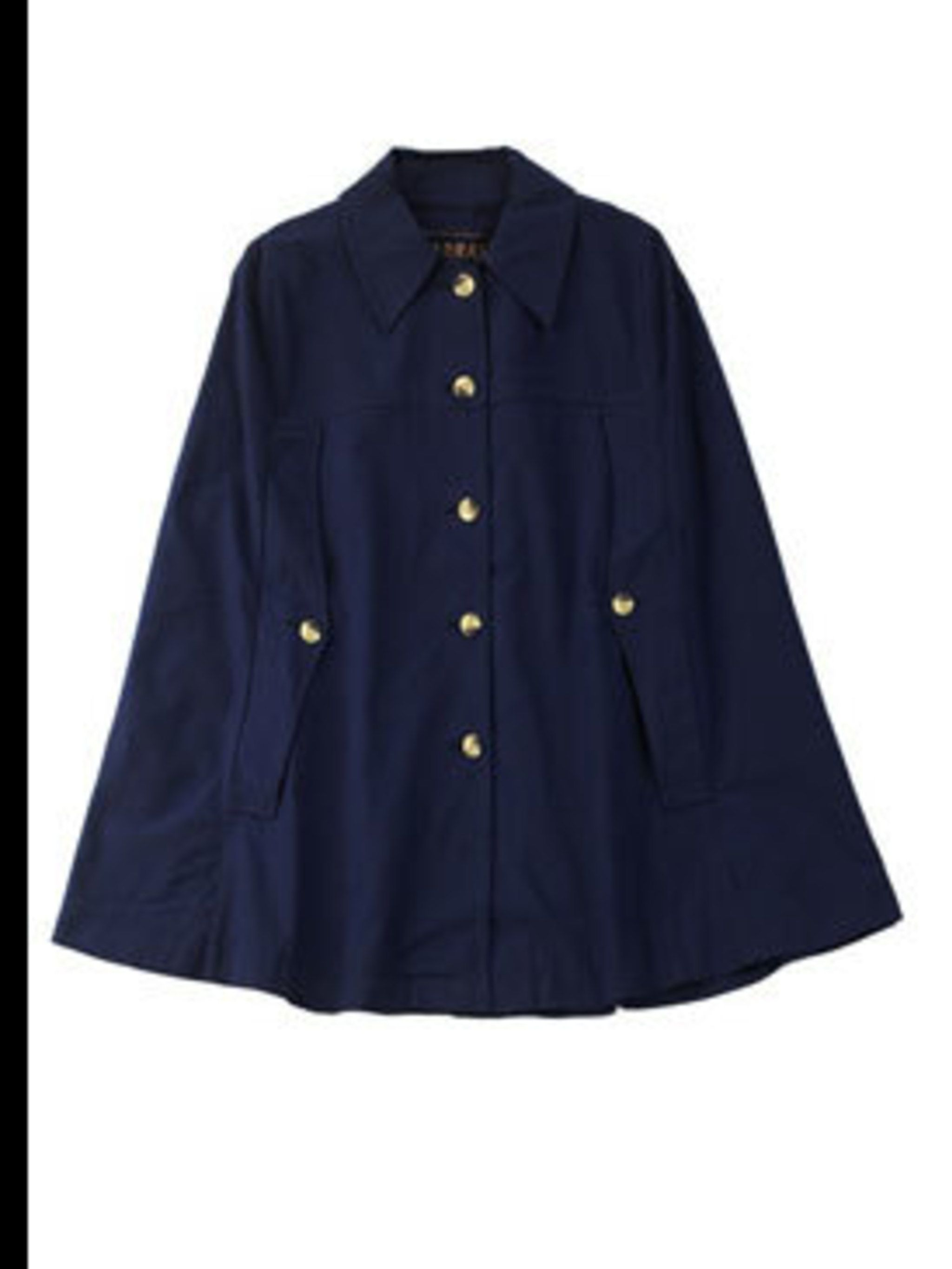 "<p>Blue cape, £125, by APC Madras at <a href=""http://www.lagarconne.com/store/item.htm?itemid=4659&sid=626&pid=625"">La Garconne</a></p>"
