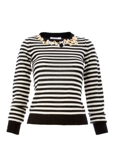 <p>Embellished striped jumper, £275, by Sonia Rykiel at Liberty (0207 734 1234)</p>