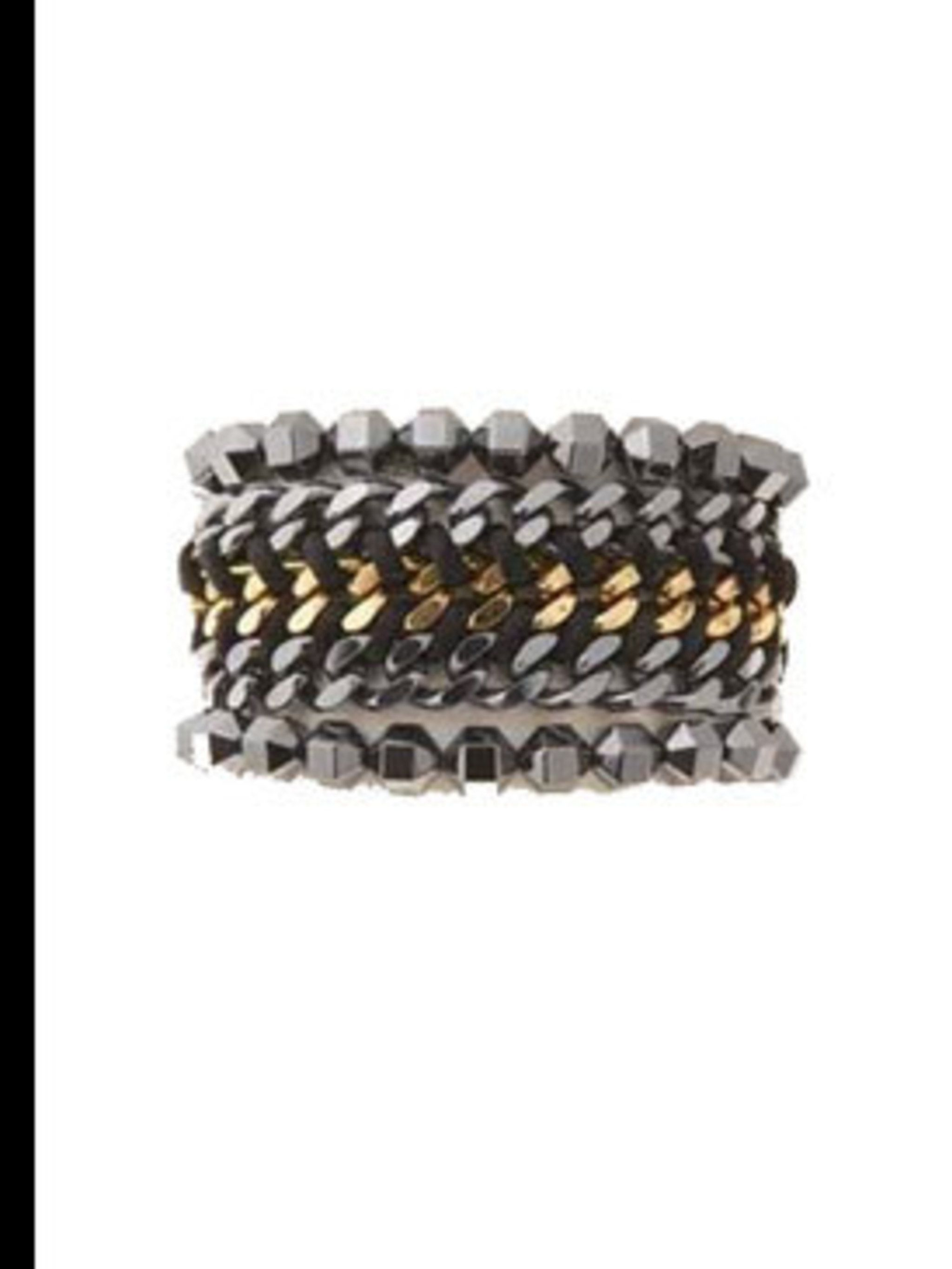 "<p>Gunmetal chain cuff, £187, by <a href=""http://bexrox.myshopify.com/products/triple-magnet-cuff"">Bex Rox</a></p>"