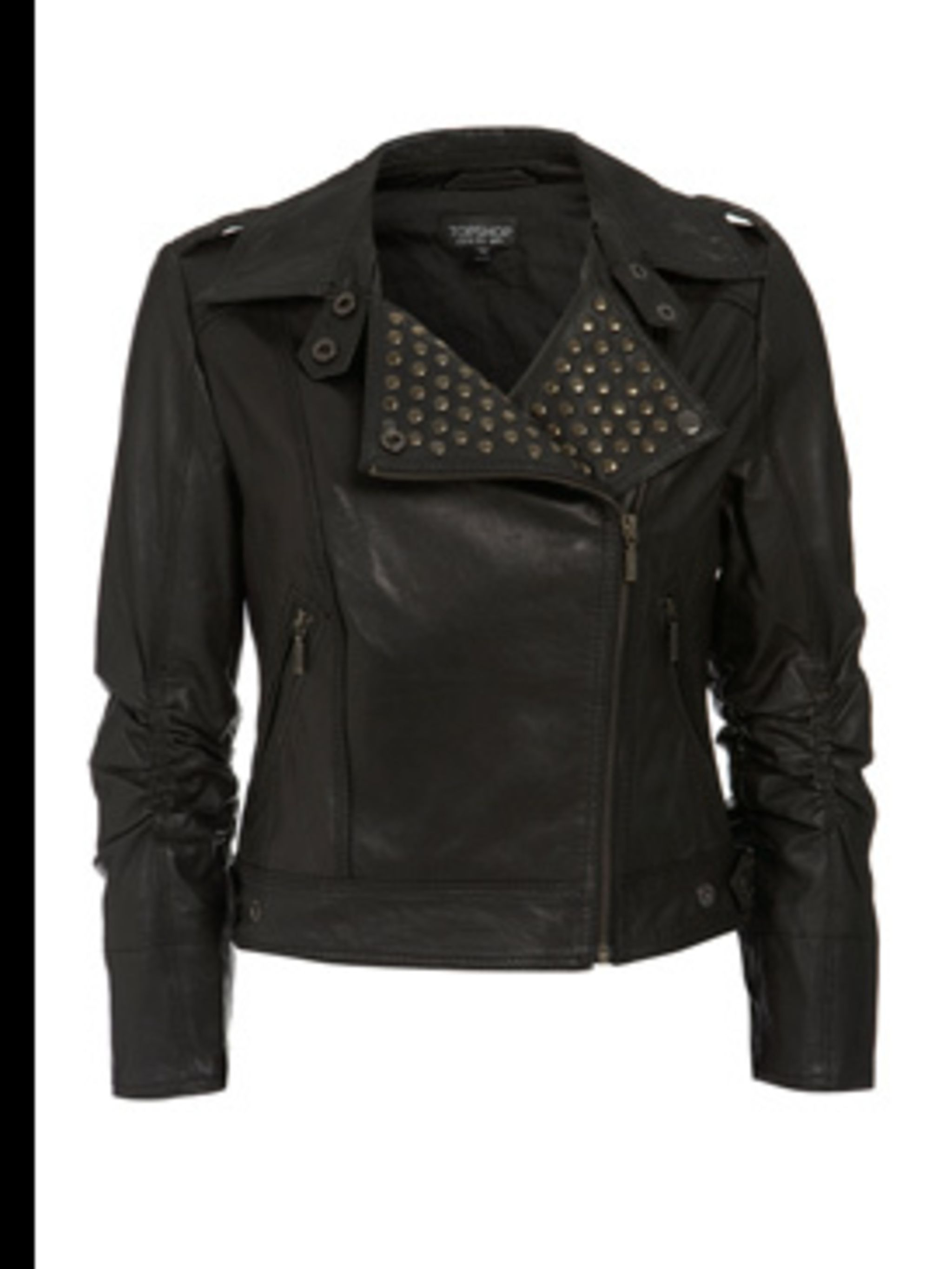 <p>Leather jacket with studs, £120, by Topshop (0845 121 4519)</p>