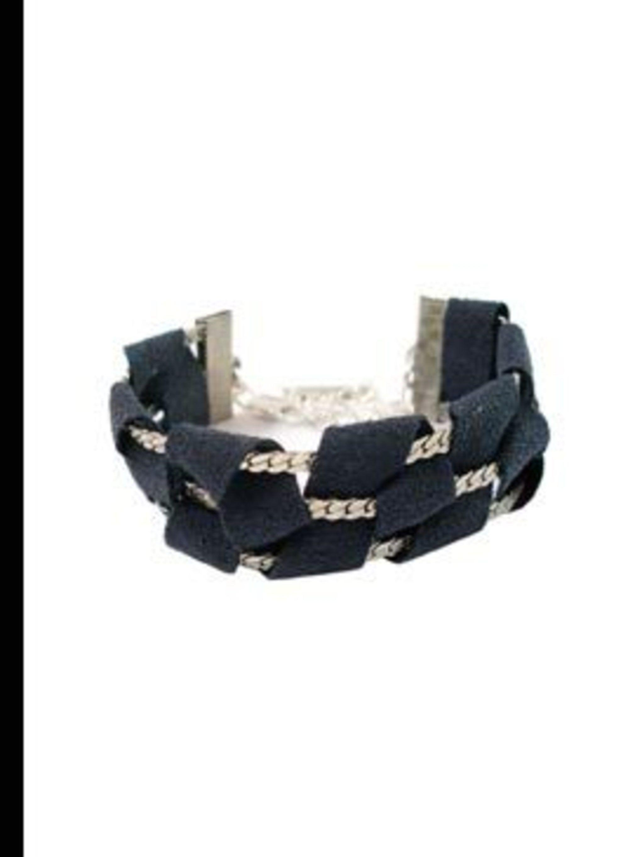 """<p>Blue suede weave bracelet, £60, by <a href=""""http://www.kabiri.co.uk/bracelets/weave-suede-tape-bracelet-blue.html"""">Kabiri</a></p>"""