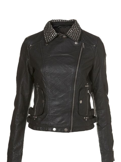 "<p>Studded leather jacket, £58, by <a href=""http://www.topshop.com/webapp/wcs/stores/servlet/ProductDisplay?beginIndex=0&viewAllFlag=true&catalogId=19551&storeId=12556&categoryId=168028&parent_category_rn=42347&productId=1377553&am"