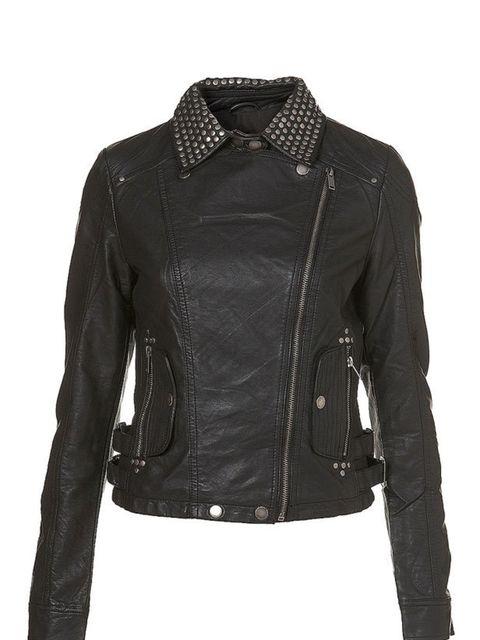 "<p>Studded leather jacket, £58, by <a href=""http://www.topshop.com/webapp/wcs/stores/servlet/ProductDisplay?beginIndex=0&amp&#x3B;viewAllFlag=true&amp&#x3B;catalogId=19551&amp&#x3B;storeId=12556&amp&#x3B;categoryId=168028&amp&#x3B;parent_category_rn=42347&amp&#x3B;productId=1377553&am"