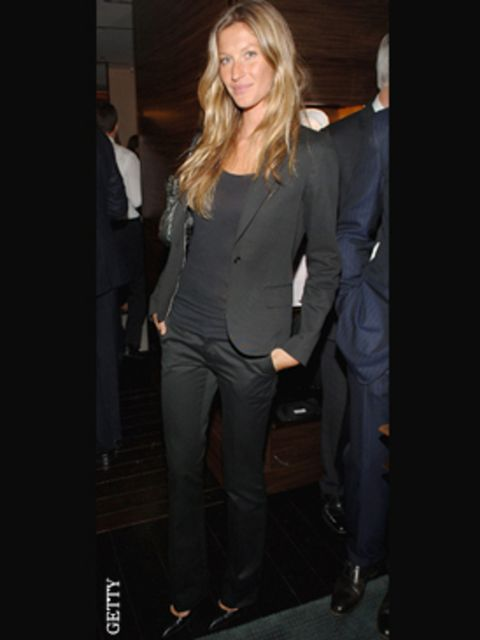 <p>At menswear label Zegna's store launch in Manhattan Gisele borrowed from the boys in this chic blazer</p>