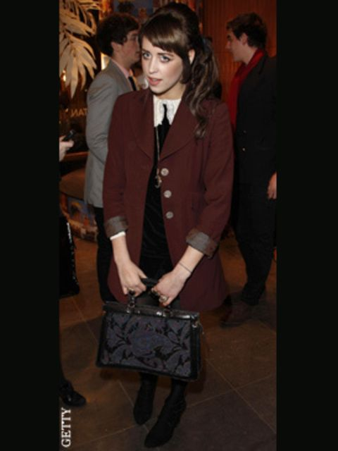 <p>Peaches headed to the Mulberry party on Bond Street in this cute PPQ dress</p>
