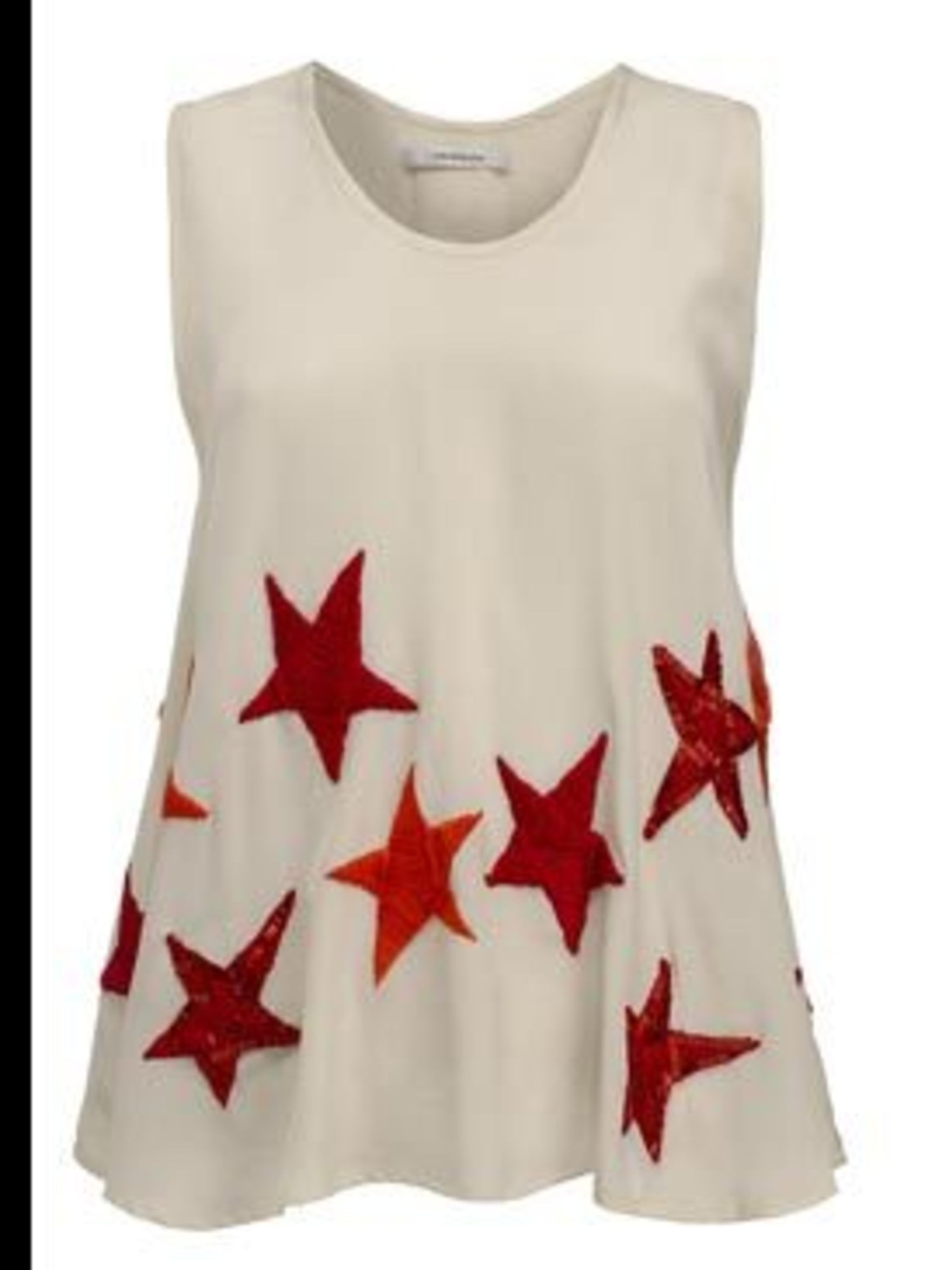 <p>Star print sleeveless top, £315, by John Rocha. For stockists call 0207 495 2233</p>