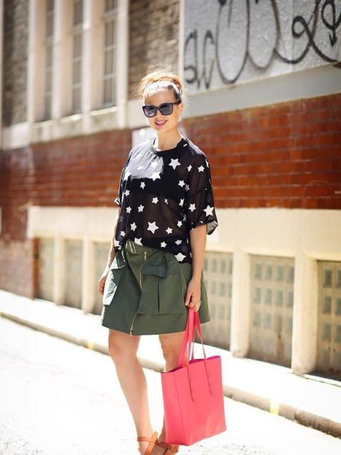 <p>Sophie Beresiner, Beauty Director</p>  <p>Asos T-shirt, Kenzo skirt, Aspinall of London bag, Celine shoes, Chanel sunglasses, MDMflow lipstick</p>
