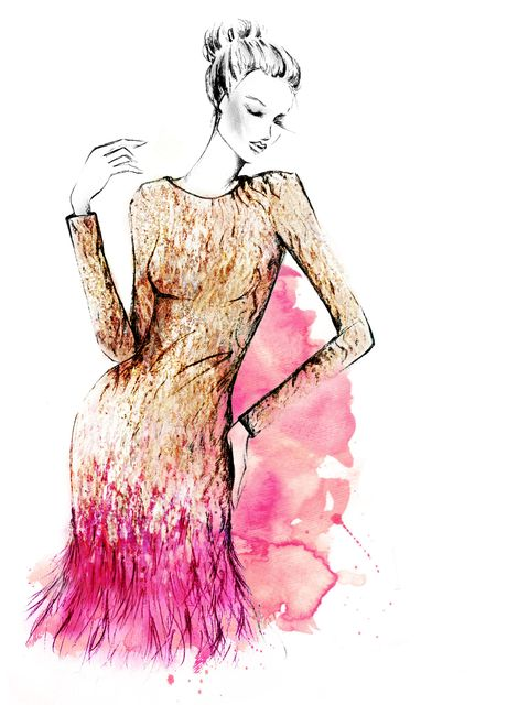 <p>A sketch of the Gold Liquid Sequin Feather Trimmed Mini Dress</p>