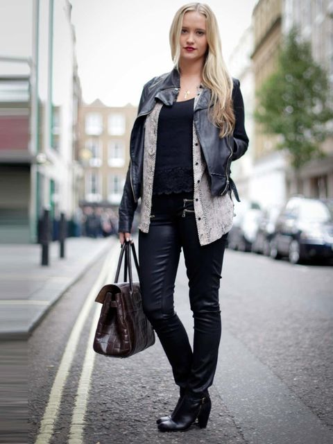 "<p>Joely Walker, ELLE Beauty Assistant:</p><p>Topshop leather jacket, <a href=""http://www.jbrandjeans.com/"">J Brand</a> leather coated jeans, Mulberry bag, Dune ankle boots</p>"