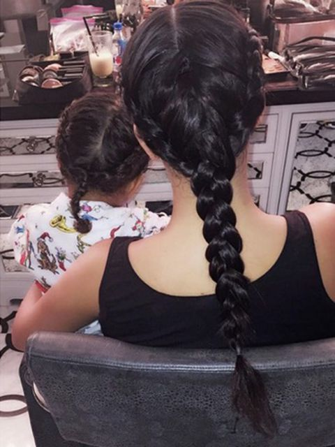 @jenatkinhair North may or may not have had influence on our hair choice today @kimkardashian #MatchingBraids