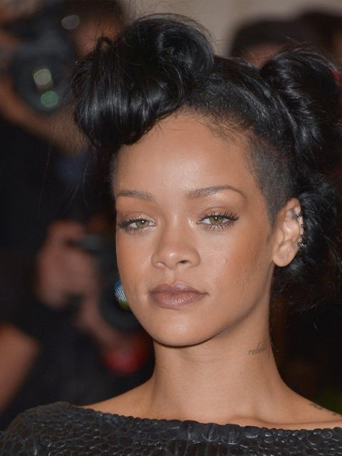 <p>Rihanna with a quiff hairstyle at the Met Ball 2012</p>