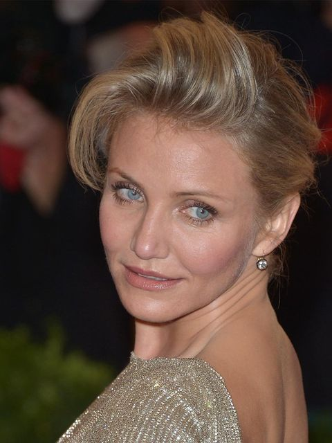<p>Cameron Diaz wearing her hair in a quiff at the 2012 Met Ball</p>