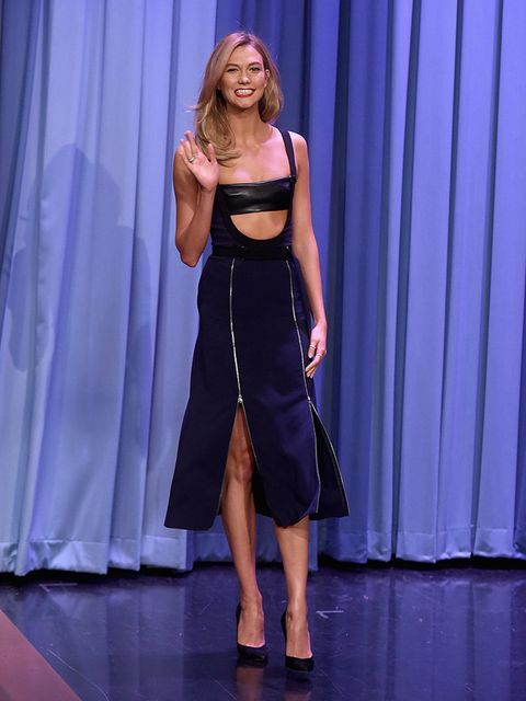 Karlie Kloss on the Tonight Show with Jimmy Fallon in New York, May 2016.