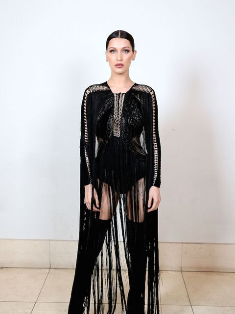 Bella Hadid's Julien Macdonald dress at the ELLE Style Awards was a tasseled, pseudo-BDSM masterpiece and will inspire many copycat looks we're sure. Have a look through all the other times Bella has gone for the vampy black look.