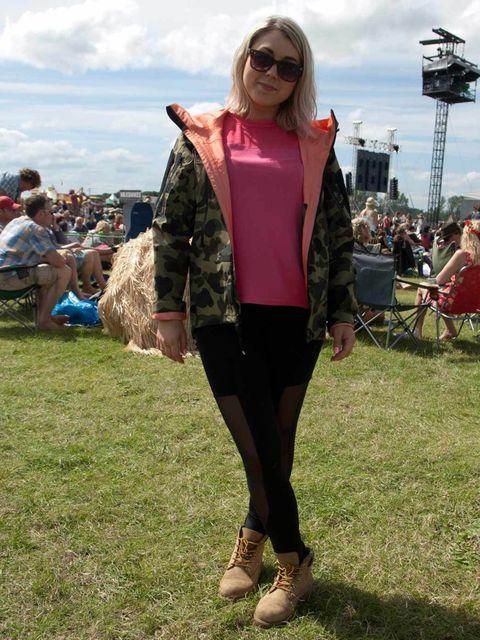 <p>Scarlett, 25, Mobile Nail Business Owner, London. A Bathing Ape jacket, H&M top, Topshop leggings, Timberland boots, Asos men's sunglasses.</p>