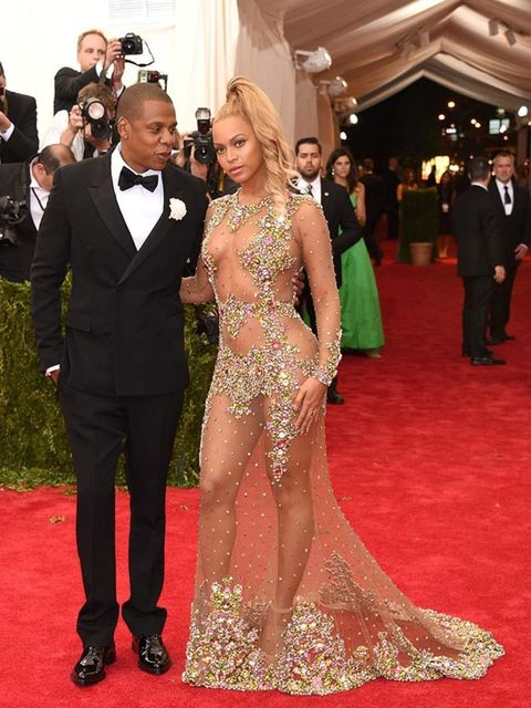 <p>Beyoncé, in Givenchy Haute Couture by Riccardo Tisci, attends the Met Gala with Jay Z, May 2015.</p>