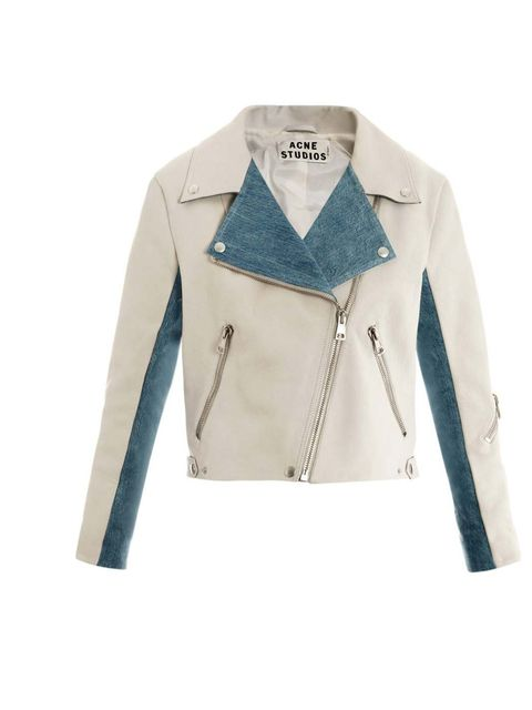 "<p>Acne 'Rita' leather and denim jacket, £850, available from <a href=""http://www.matchesfashion.com/product/138115"">Matches</a></p>"