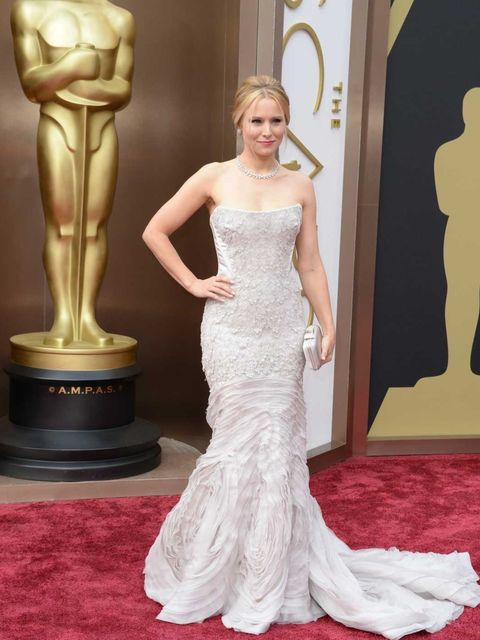 <p>Kristin Bell wears Roberto Cavalli to attend the Academy Awards 2014</p>