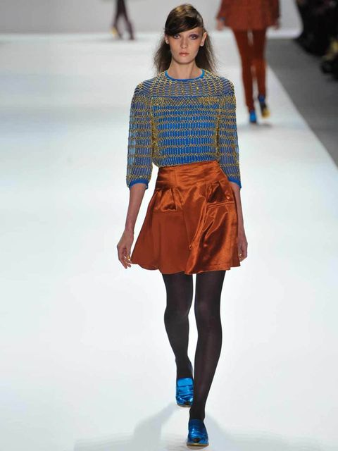<p>Nanette Lepore printed top, £275, and A-line skirt, £215, for stockists call 0207 221 8889</p>