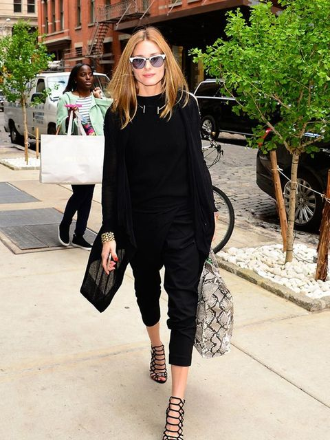 Olivia Palermo wearing all black whilst out and about in New York, May 2015.