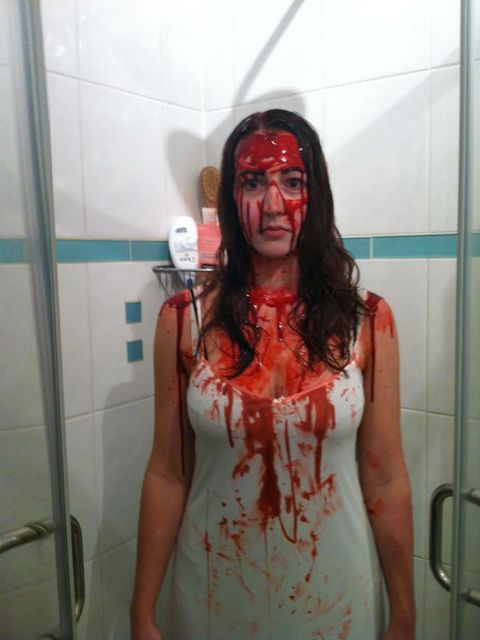 <p><strong>Debbie Morgan - Editorial Business Manager</strong></p><p>'I actually didn't smile for the first few hours of the evening, because I physically couldn't - the fake blood had congealed so hard! But it worked for the creepiness that is my Carrie