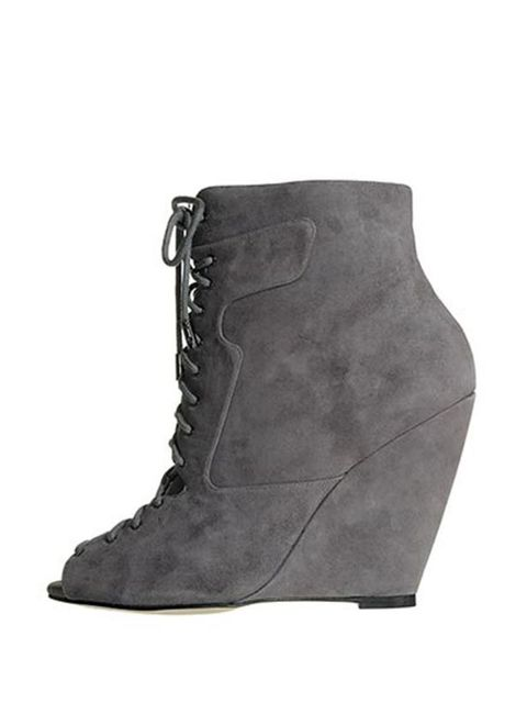 "<p>A pair of ankle boots are a wardrobe essential and these will be perfect for pairing with leather. <a href=""http://www.reissonline.com/shop/womens/womens_new_arrivals/collette/grey/"">Reiss</a> peep toe wedges, £179 </p>"