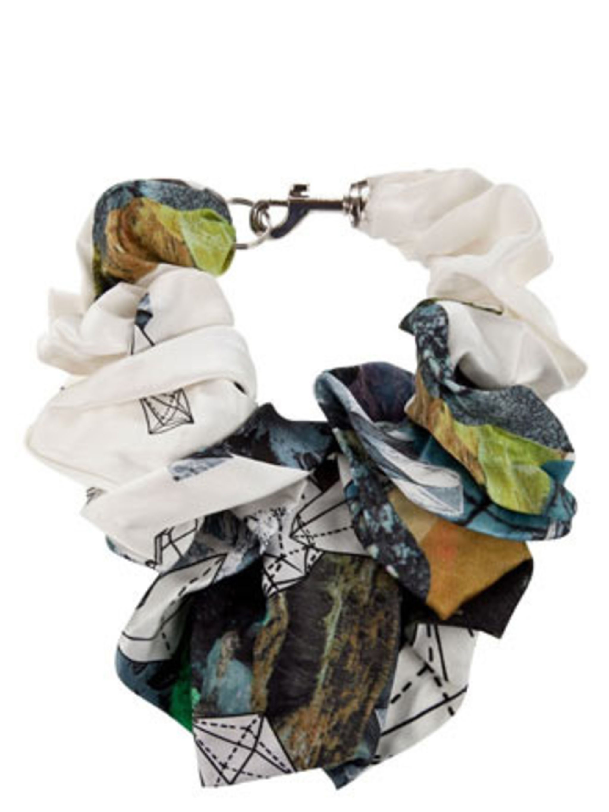 <p>Is it a scarf? Is it a necklace? It's both! This limited edition silk scarf necklace will add instant interest to all your outfits.</p><p>Necklace, £50 Kapow! Wow! at Farfetch</p>