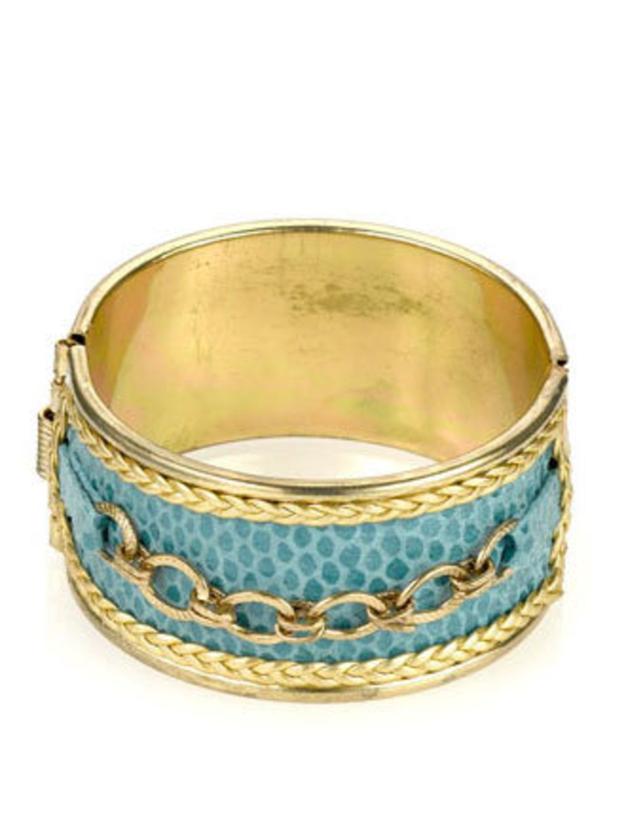 "<p>You can never have too much jewellery (well, it doesn't take up that much space), so slip your wrist into this turquoise and gold number. It's a great statement piece, without the hefty price tag.</p><p>Cuff, £10 by <a href=""http://www.monsoon.co.uk/in"