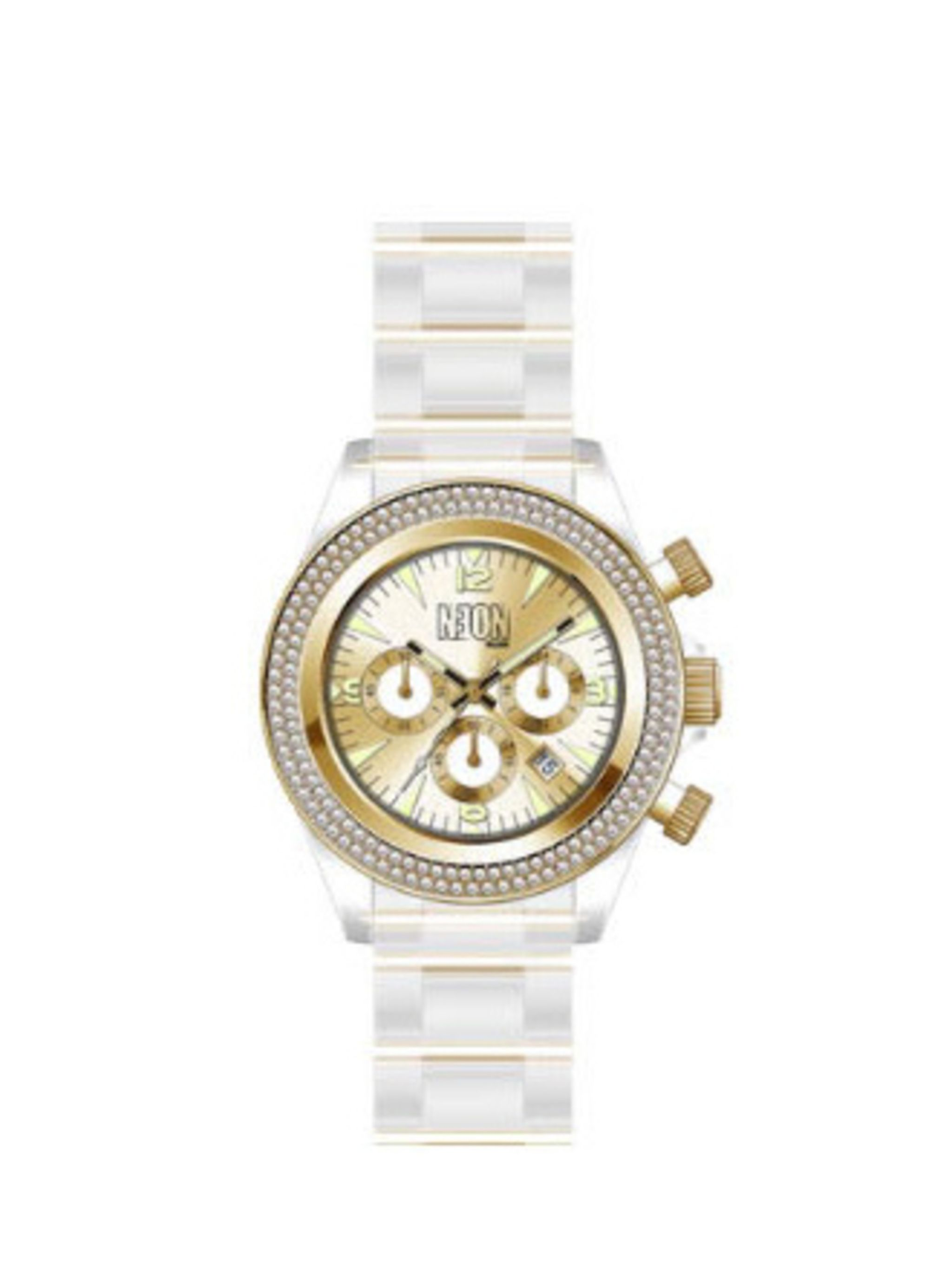 "<p>The trend for sporty watches is here to stay, so snap up this oh-so-chic clear acrylic and gold detail watch. It will make a great stocking filler…for you.</p><p>Watch, £99 by Neon Dilligaf at <a href=""http://www.bunnyhug.co.uk/fashionshop/gbu0-prodsho"