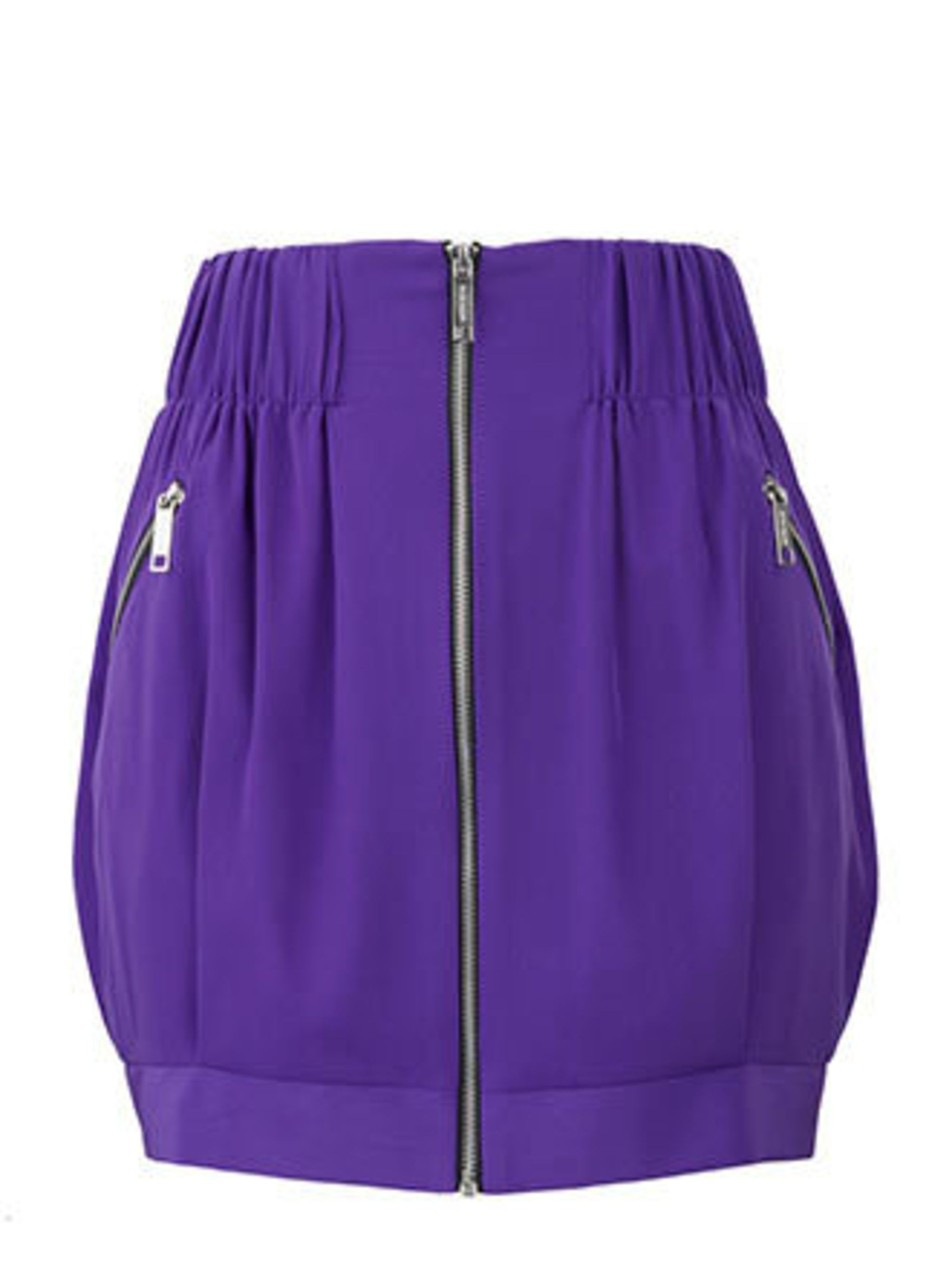 <p>This purse-friendly skirt nails two summer trends in one – sporty (thanks to the zip details) and vibrant colour. Wear it now with chunky tights, come summer a racer back vest and bare legs will do nicely.</p><p>Skirt, £26.99 by River Island</p>
