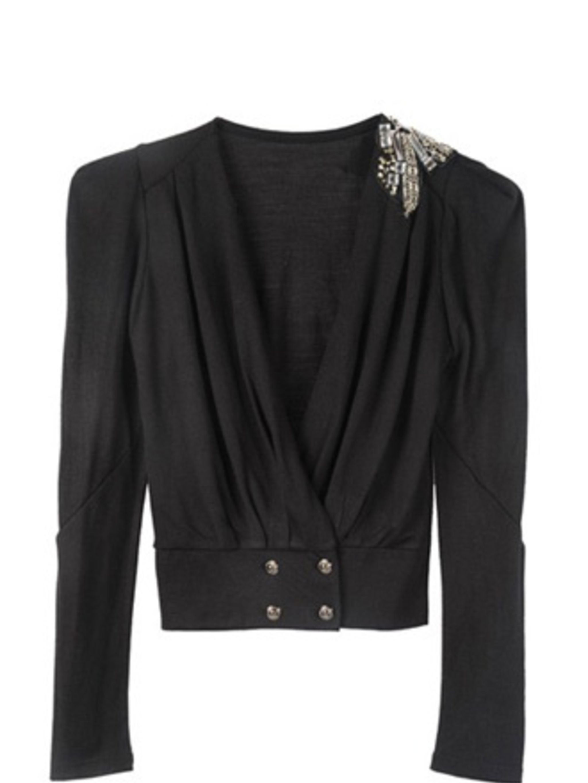 "<p>Cardigan, £55 by Toki &amp&#x3B; Nabi at <a href=""http://www.pretaportobello.com/shop/tops/tops/toki-and-nabi-embellished-shoulder-cardigan.aspx"">Pret A Portobello</a></p>"