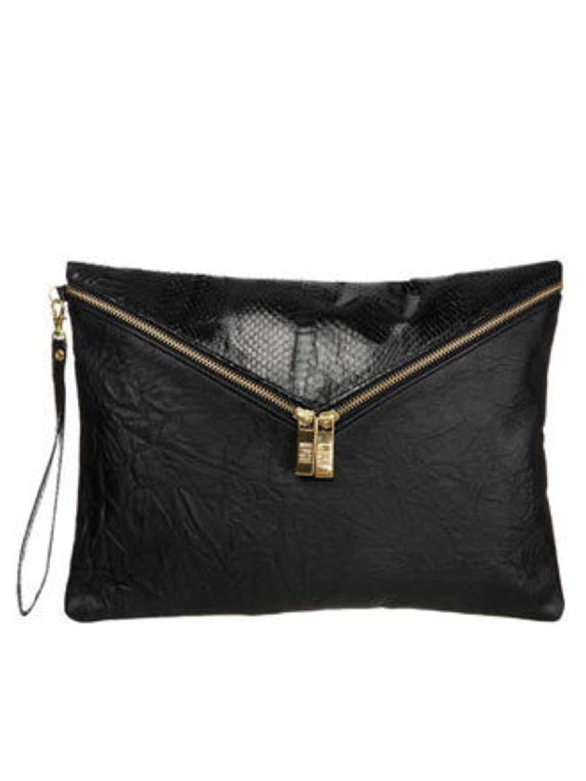 """<p>Leather clutch, £98 by Mogil at <a href=""""http://www.bunnyhug.co.uk/fashionshop/gbu0-prodshow/Mogil_Black_Washed_Leather_and_Snake_Detail_Super_Size_Witch_Envelope_Clutch.html"""">Bunnyhug</a></p>"""