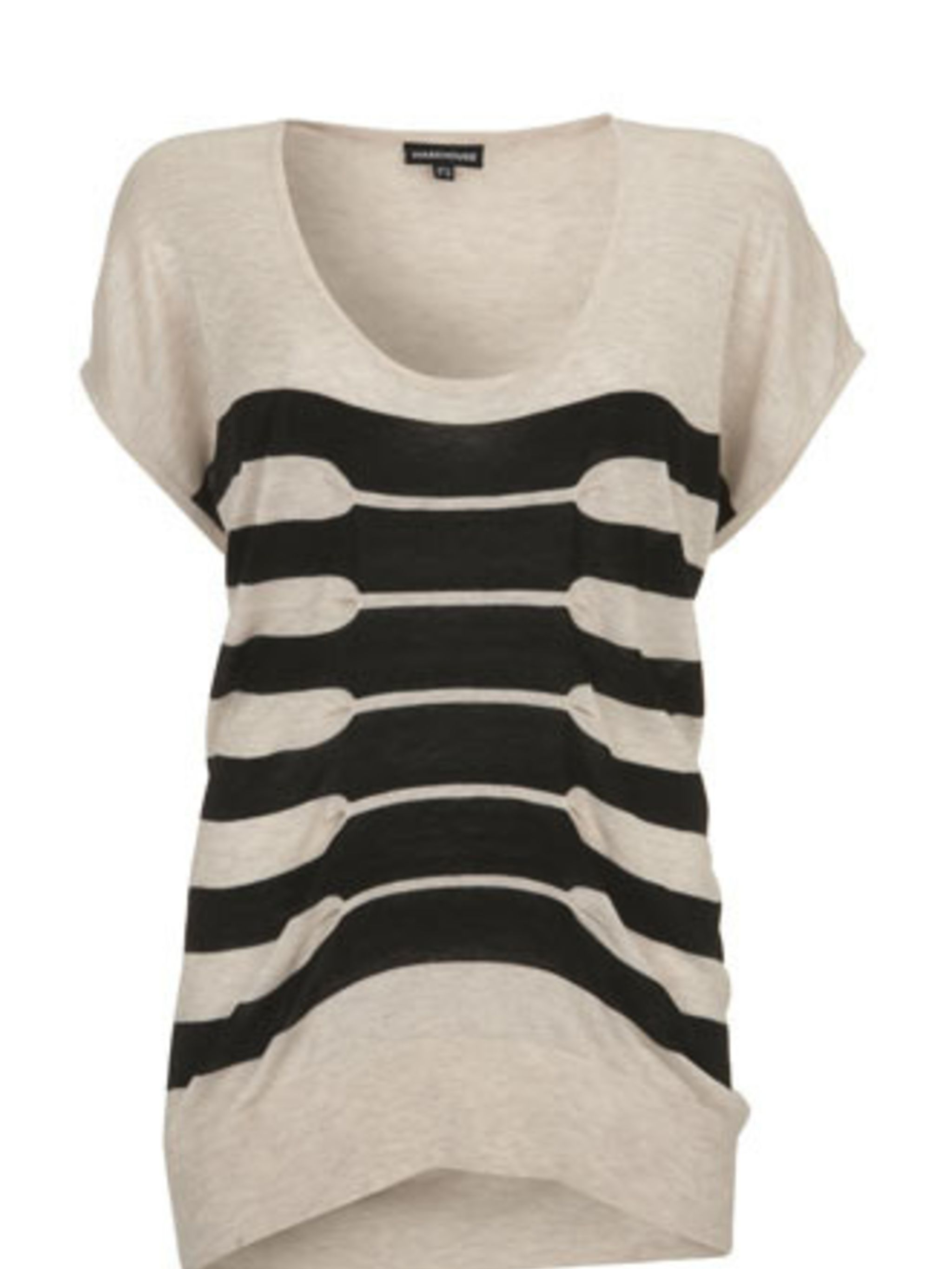 """<p>This uber-cool gathered knit will look great with skinny black jeans and the Reiss wedges. Pair it with a boyfriend blazer and you're good to go.</p><p>Top, £38 by <a href=""""http://www.warehouse.co.uk/fcp/product/fashion//STRIPE-TUCK-TOP/299226"""">Warehou"""