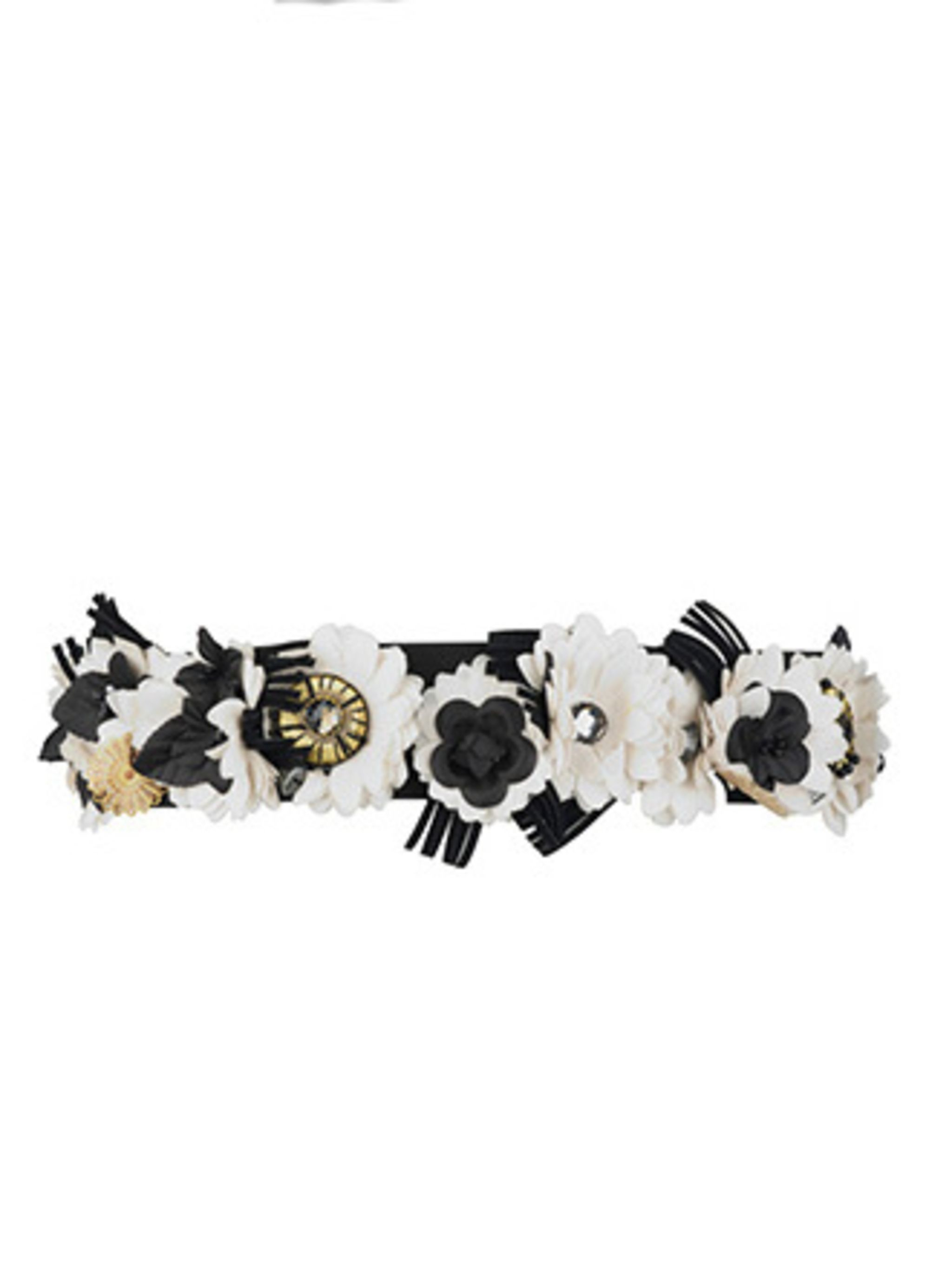 """<p>With the monochrome and flower detail this belt has a bit of the Chanel about it. This means it should last longer than the season does. Pair with a LBD day or night.</p><p>Belt, £24.99 by <a href=""""http://xml.riverisland.com/flash/content.php"""">River Is"""