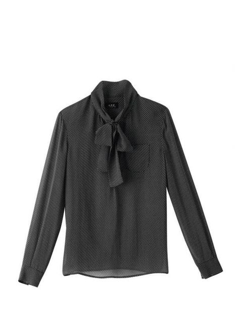 <p>Blouses are a perennial favourite but this season ladylike glamour is set to be huge. Tap into the trend with this spotty printed version. A.P.C. blouse, £155, call 0207 409 0121 for stockists</p>