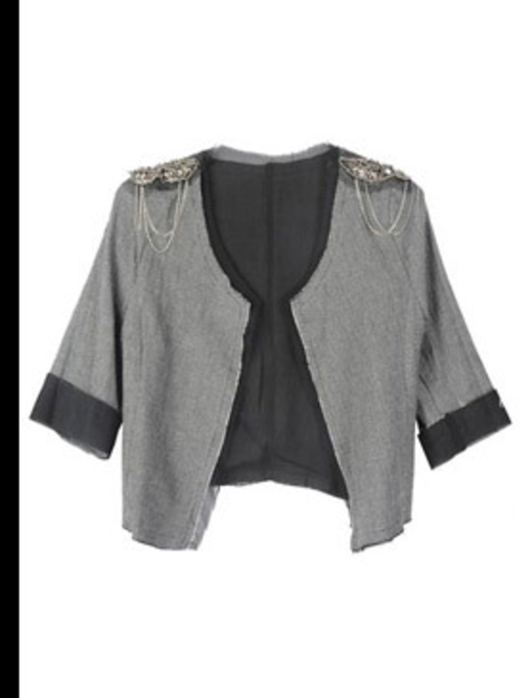 "<p>Jacket, £60 by Toki & Nabi at <a href=""http://www.pretaportobello.com/Onlineproductdetail.aspx?PId=00d757b2-c8e2-43b3-b738-e74344d48be4"">Pret A Portobello</a></p>"