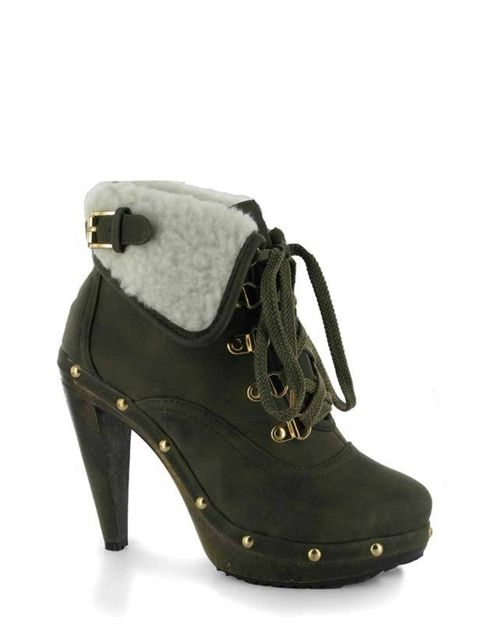 "<p>A pair of heeled hiking boots are a new season essential which is why we're adding this shearling pair to this week's shopping list. Wear with chunky ankle socks for an autumnal look. <a href=""http://www.chockersshoes.co.uk/category/heels2/product/grac"