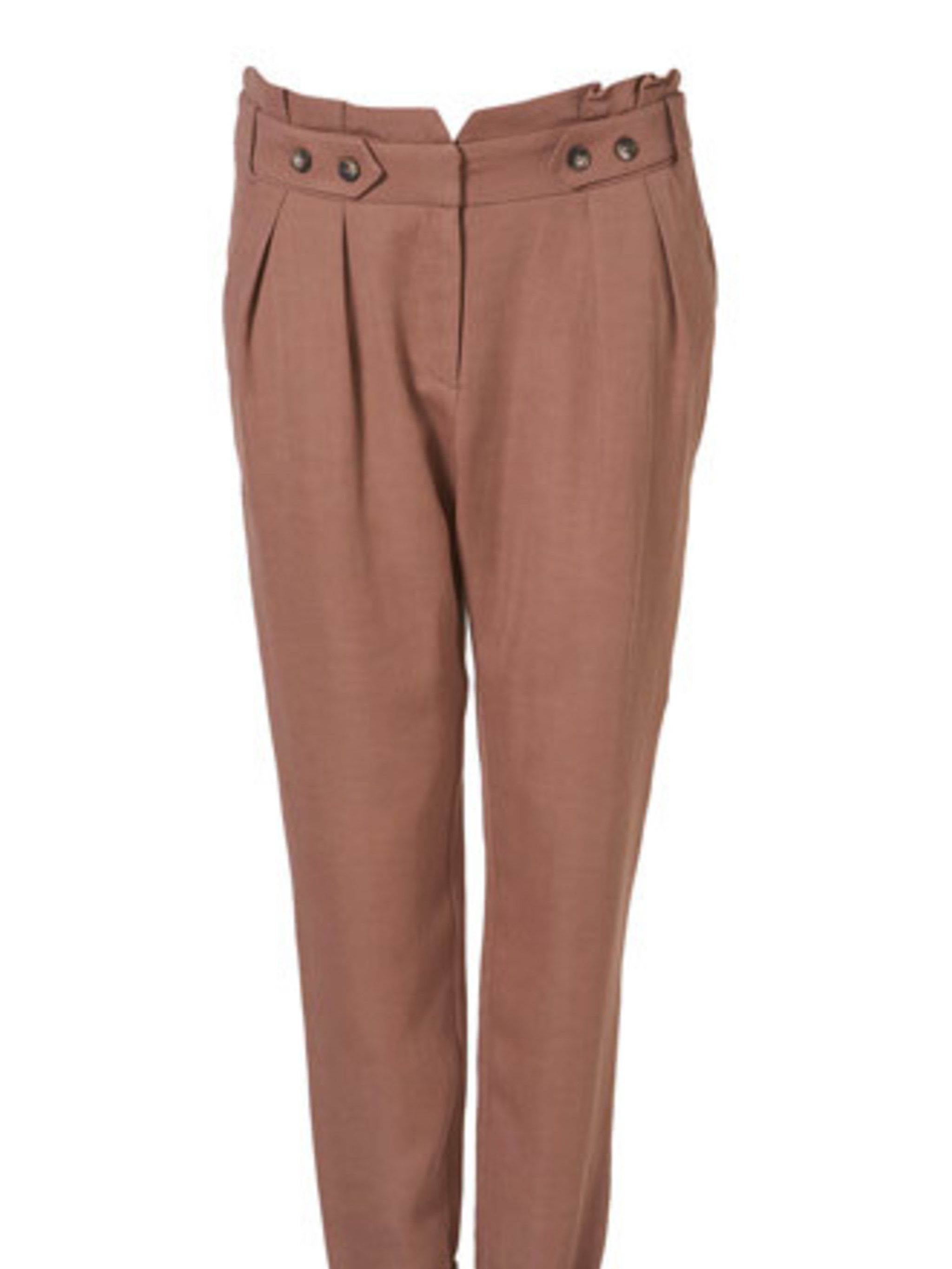 "<p>Smart trousers will be your new best friend come next season, usurping the skirt and dress as your top item. This brick coloured pair is a welcome change from black, navy and grey in the office.</p><p><a href=""http://www.topshop.com/webapp/wcs/stores/s"