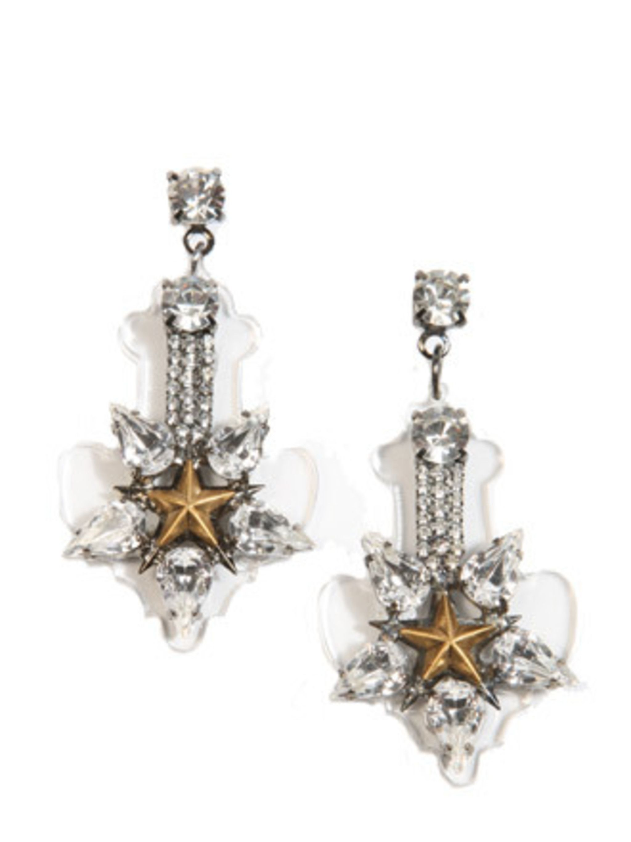 "<p>Erikson Beamon have designed these acrylic and crystal earrings exclusively for Urban Outfitters. It has been all about the statement necklace for a long time, bring back big earrings, we say.</p><p>Earrings, £88 by Erickson Beamon for <a href=""http://"