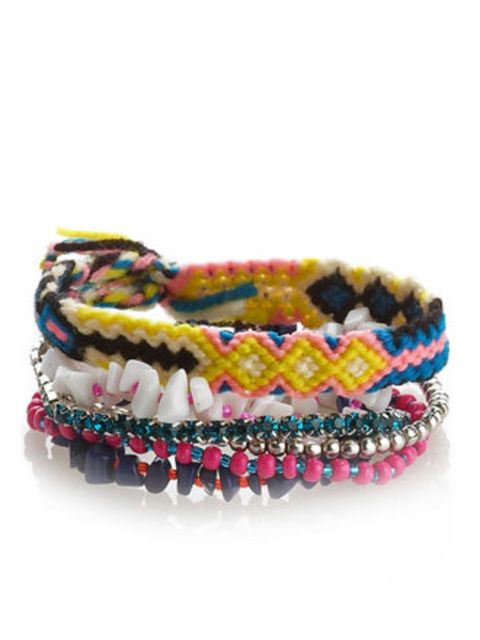 <p>Remember making friendship bracelets and beaded wristbands when you were little? That playground past-time is back in fashion. If you don't have the time or inclination to get crafty, Accessorize have a lovely bunch of bracelets in store now. It will i