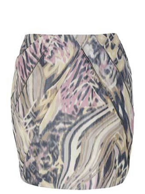 "<p>This muted, pastel print skirt with zip detail is a classic pretty-edgy combo. Wear it now layered with your trusty opaques and come summer you can pair it with fake tan instead.</p><p>Skirt, £29.99 by <a href=""http://xml.riverisland.com/flash/content."