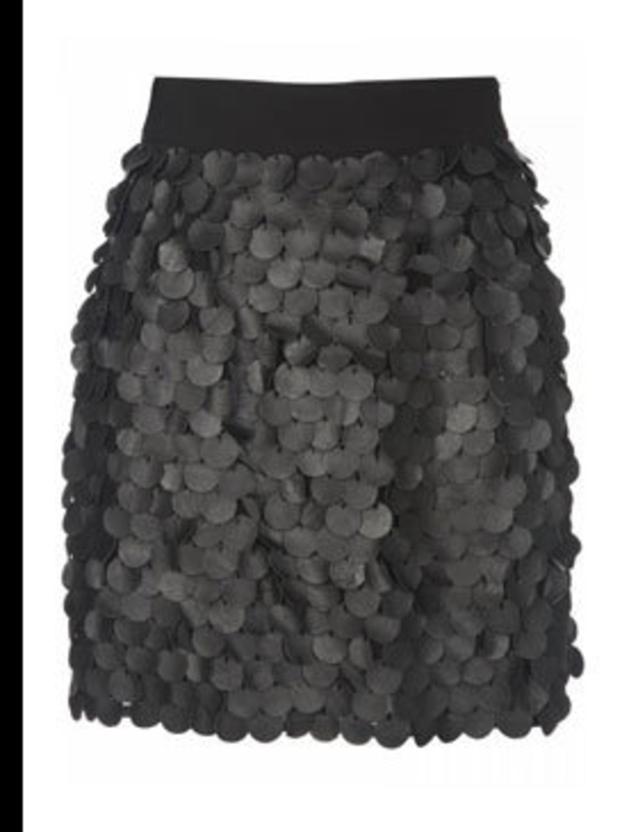 "<p>Leather skirt with laser cut discs, £50, by <a href=""www.topshop.com"">Topshop </a></p>"