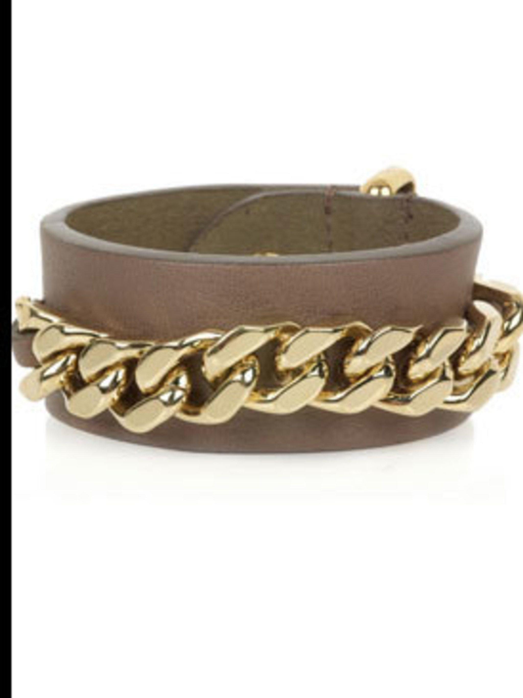 """<p>Chain embellished leather cuff, £135, by Fendi at <a href=""""http://www.net-a-porter.com/product/47697"""">Net-a-Porter</a></p>"""