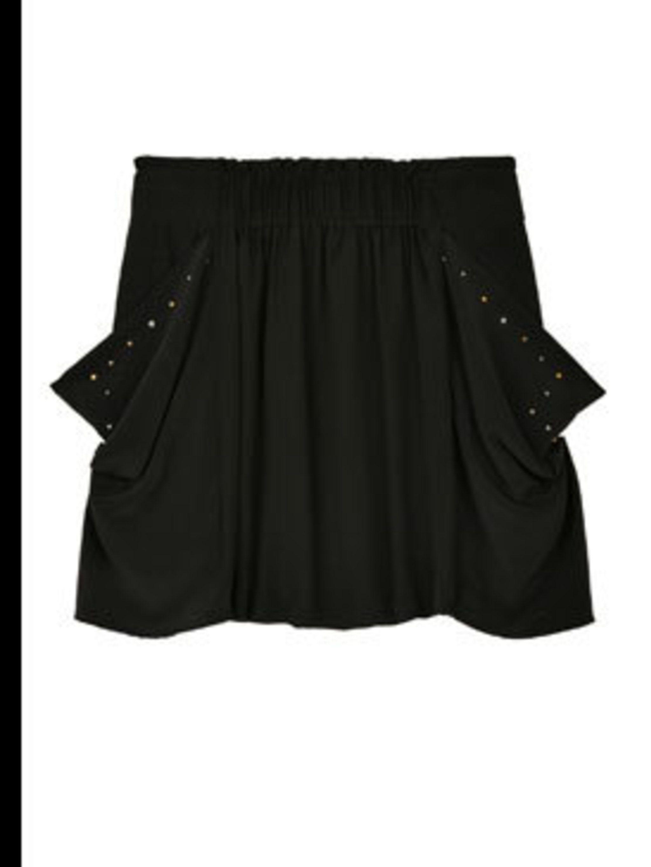 "<p>Black skirt with studs, £100, by <a href=""http://www.my-wardrobe.com/by-zoe/tina-studded-pocket-skirt-by-zoe-300188"">By Zoe</a></p>"