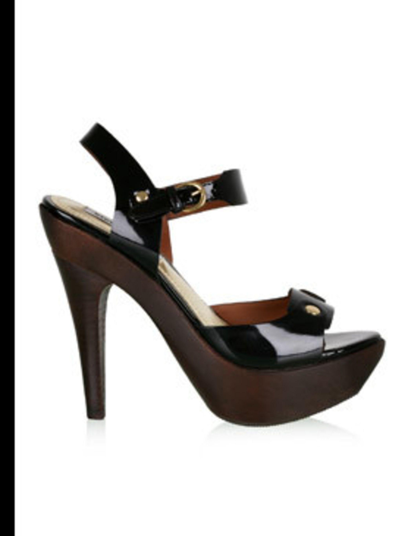 "<p>Shoes, £115 by Steve Madden at <a href=""http://www.my-wardrobe.com/steve-madden/black-patent-platform-peeptoe-168203"">My-Wardrobe</a></p>"