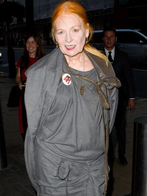 "<p><a href=""http://www.elleuk.com/catwalk/collections/vivienne-westwood/autumn-winter-2011"">Vivienne Westwood</a> at the at the opening of the The Wool Modern exhibition at La Galleria, 7 September 2011</p>"
