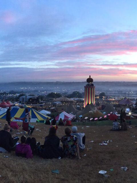 'The Sun setting on Glastonbury'
