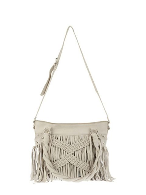 """<p>Nude, taupe and mink shades are big news for spring. This bag, with its woven tassel detail and off-white leather make it a spring must-have. Buy it now; we predict it won't stay around for long.</p><p>Leather Bag, £124.99 by  <a href=""""http://xml.river"""